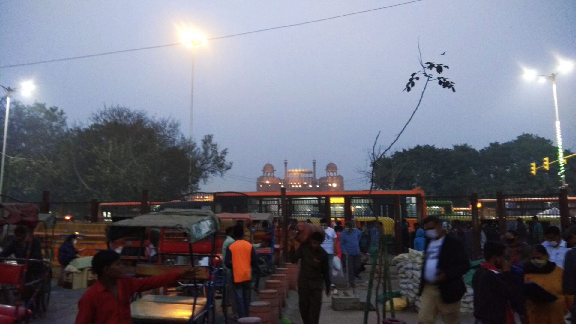 Red Fort at Night near Chandni Chowk Market