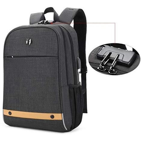 Hoteon Golden Wolf Laptop Backpack with USB Port