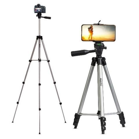 AGARO Adjustable Camera Tripod Stand with Mobile Phones Clip & Camera Holder